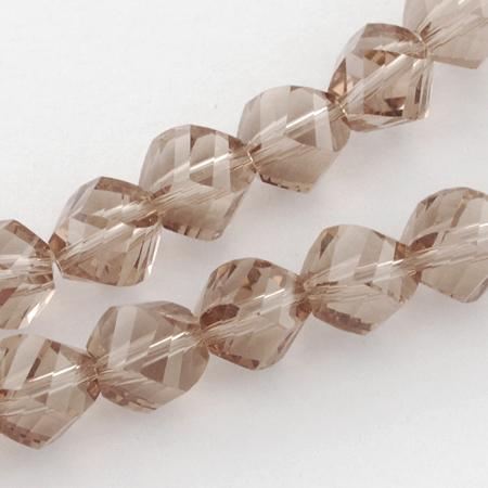 Наниз мъниста кристал 8x8 мм дупка 1 мм фасетиран прозрачен розово-кафяв ~ 72 броя