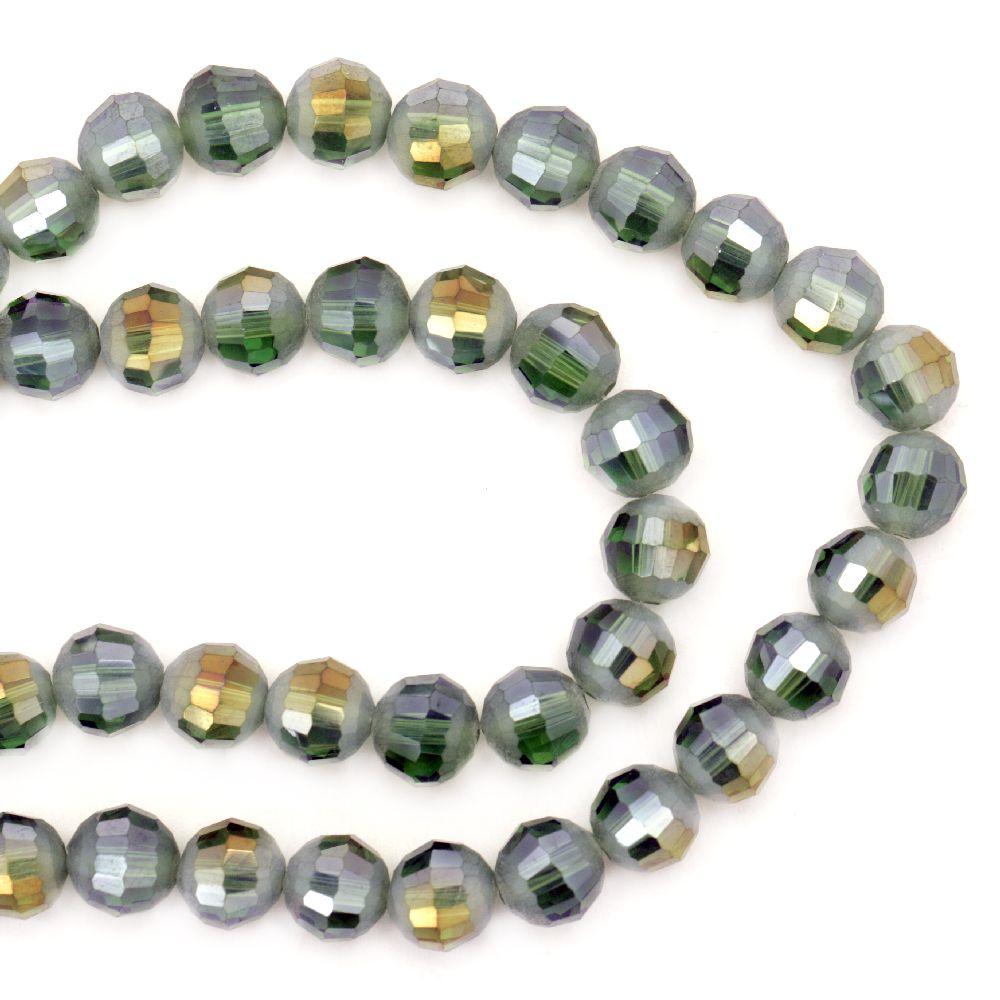Наниз мъниста кристал многостен 8 мм дупка 1 мм прозрачен галванизиран наполовина матиран зелен дъга~72 броя