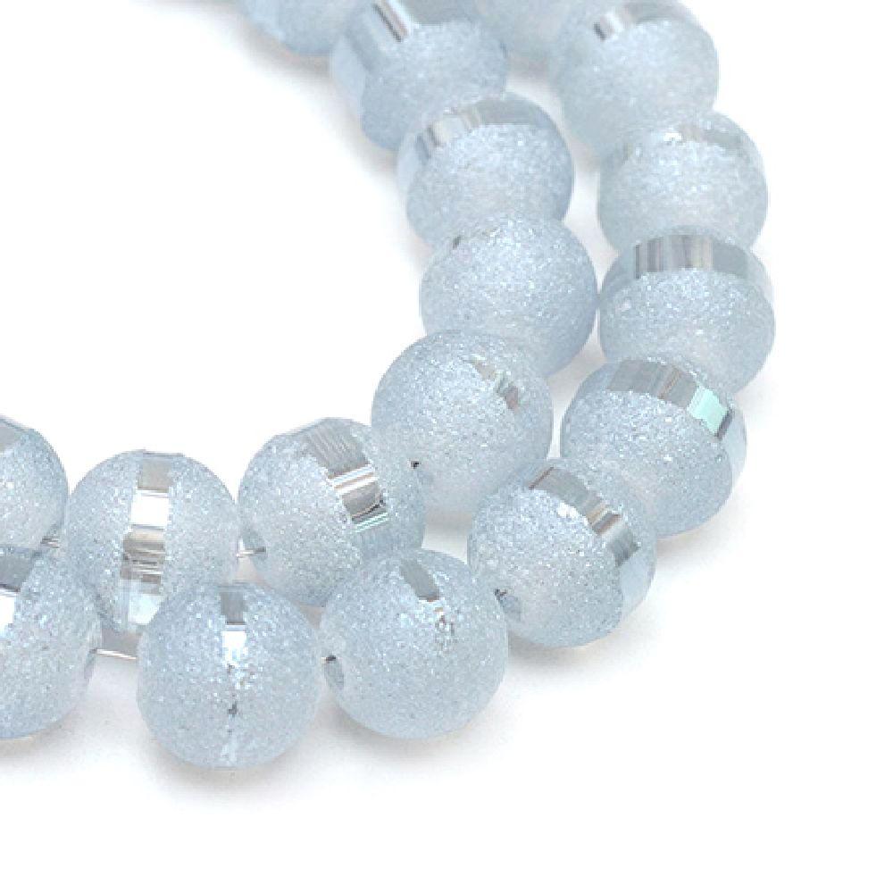 Наниз мъниста кристал топче 8~9 мм дупка 1.5 мм галванизиран матиран наполовина бял опушен ~72 броя