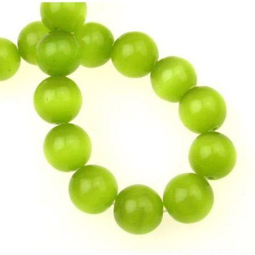 Наниз мъниста стъкло котешко око топче 12 мм дупка 1.5 мм зелено ~33 броя