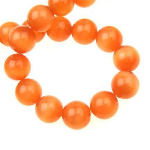 Наниз мъниста стъкло котешко око топче 12 мм дупка 1.5 мм оранжево ~33 броя
