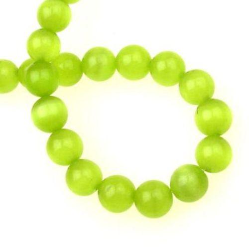Наниз мъниста стъкло котешко око топче 10 мм дупка 1.5 мм жълто-зелен ~40 броя