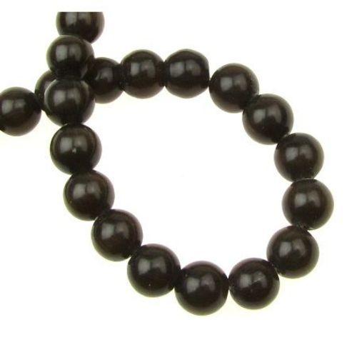 Наниз мъниста стъкло котешко око топче 8 мм дупка 1 мм кафяво тъмно ~50 броя