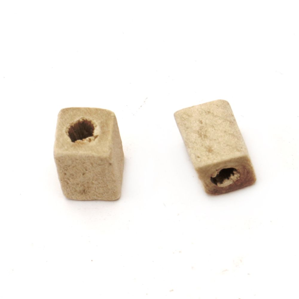 Natural unfinished wooden rectangle bead for DIY Jewelry and Crafts 8x6 mm hole 3 mm color wood - 20 grams ~ 140 pieces