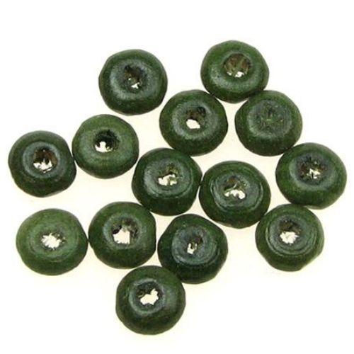 Диск 3x6 мм дупка 2 мм тъмно зелен -50 грама