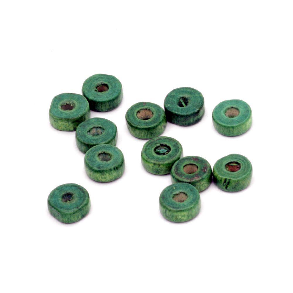 Шайба дървена 8x3.5 мм дупка 3 мм зелена -50 грама ~520 броя