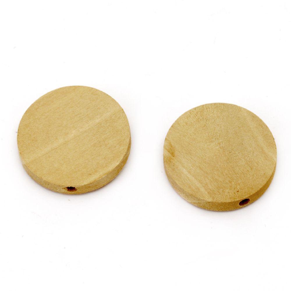 Мънисто дърво паричка 20x4 мм дупка 2 мм цвят дърво -20 броя