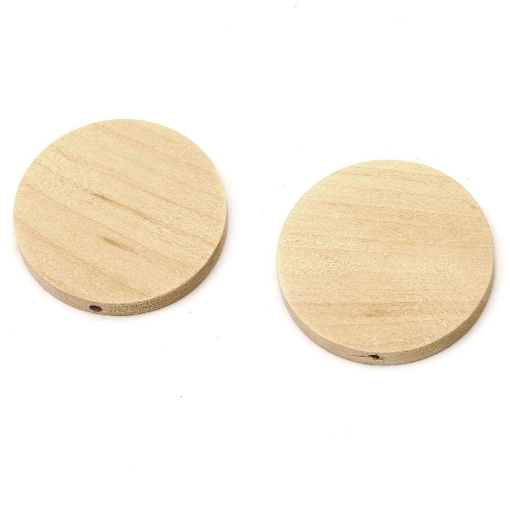 Мънисто дърво паричка 40x5 мм дупка 3 мм цвят дърво -5 броя