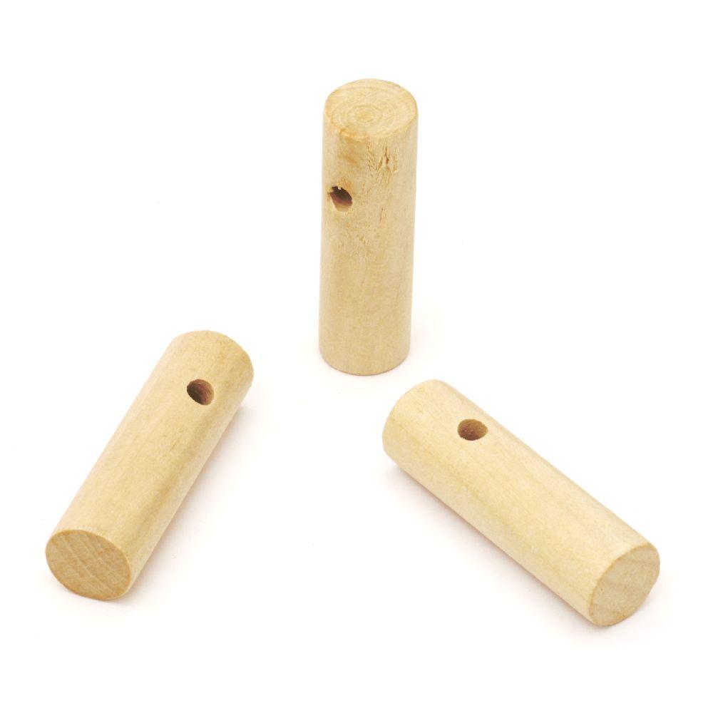 Κύλινδρος κρεμαστό ξύλο 40x12 mm τρύπα 4 mm φυσικό χρώμα -5 τεμάχια