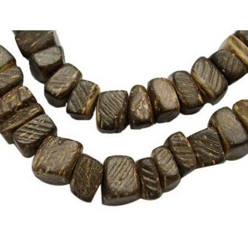 Corduri de nucă de cocos 6 ~ 7x2 ~ 5mm găuri 1mm maron ~ 105 buc