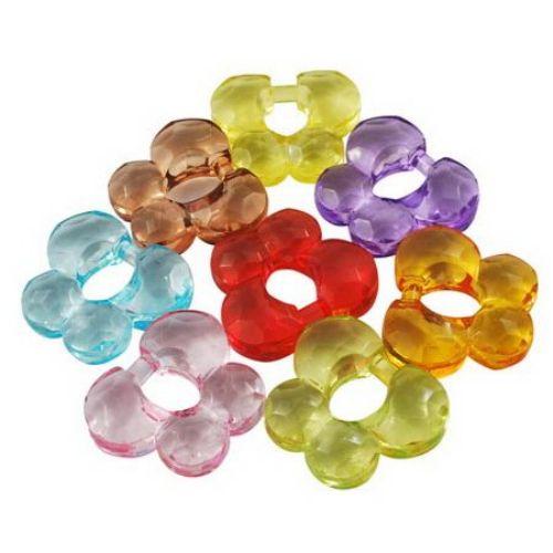 Χάντρα απομίμηση κρύσταλλο πεταλούδα 23x27x8,5 mm MIX -50 γραμμάρια ~ 16 τεμάχια