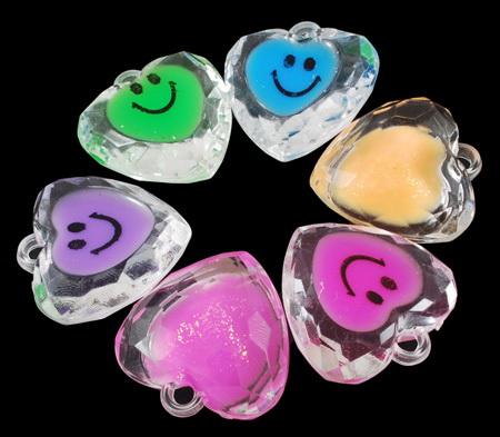 Κρεμαστό απομίμηση κρύσταλλο καρδιά 33x32x13 mm τρύπα 4 mm διάφορα χρώματα -47 γραμμάρια - 6 κομμάτια