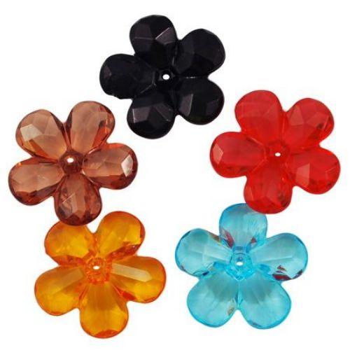 Χάντρα απομίμηση κρύσταλλο λουλούδι 28x27x8mm τρύπα 2mm MIX -50 γραμμάρια ~ 20 τεμάχια
