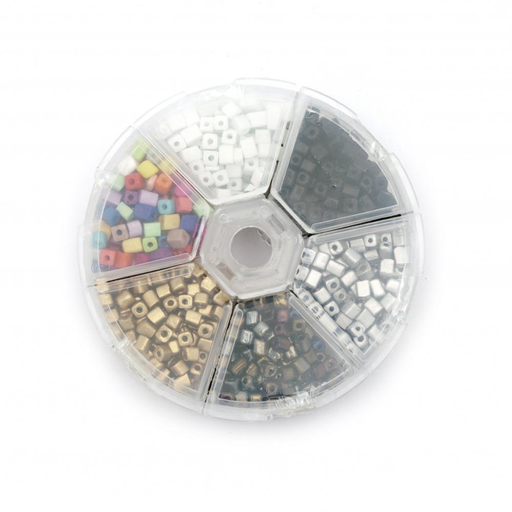 Мъниста стъклена правоъгълна 3~7x3x3 мм АСОРТЕ 6 цвята в кутия