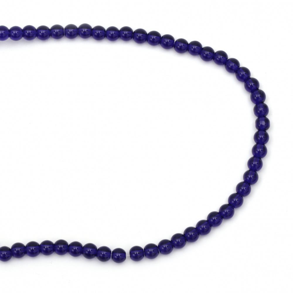 Șir de  mărgele imitație sticlă bile albastru AGAT 6mm ~ 67 bucăți