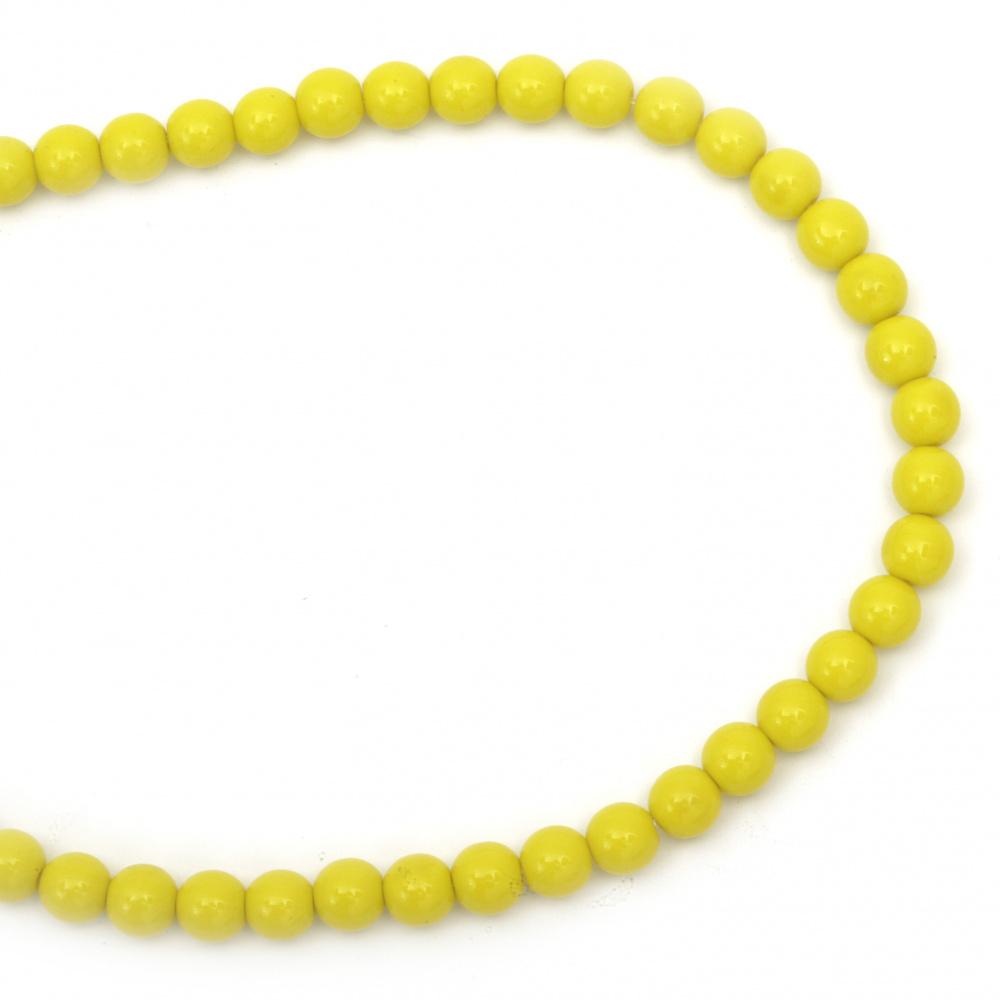 Наниз мъниста стъкло топче 8 мм плътно жълто ~49 броя