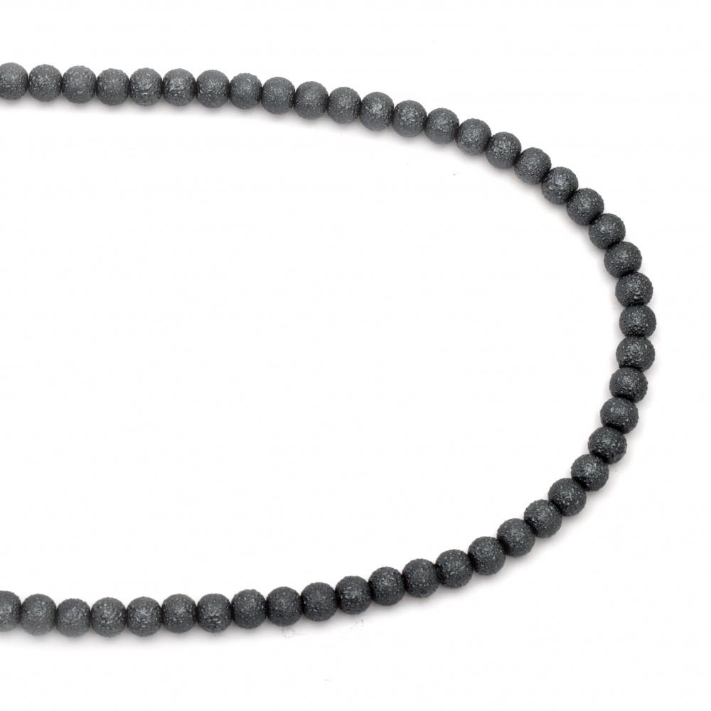 Наниз мъниста стъкло топче 8~8.5x7.5~8 мм дупка 1.5 мм грапаво сиво ~106 броя