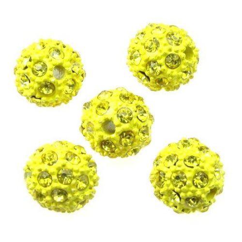 Мънисто шамбала метал с кристали 12 мм дупка 2.5 мм жълто