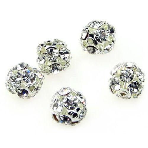 Мънисто шамбала метал с кристали 10 мм дупка 1.5 мм сребро