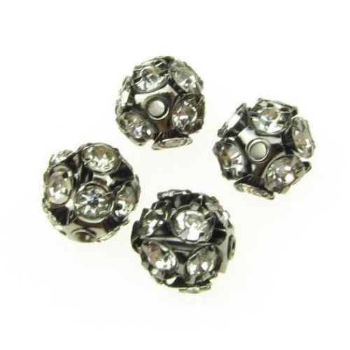 Stainless steel shambhala bead with white crystals 10 mm hole 1.5 mm