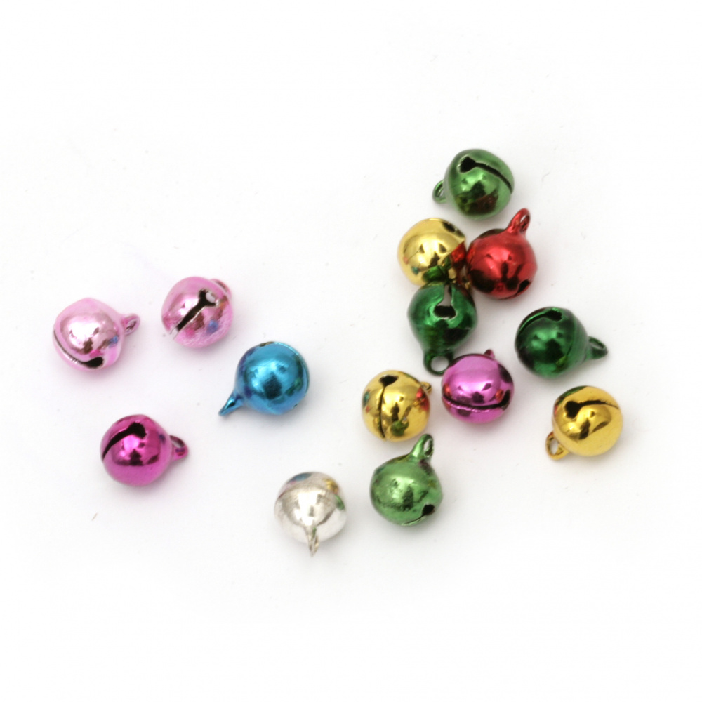Metal Jingle bell for jewelry making and DIY decorations 8x10 mm hole 1.5 mm first quality color MIX - 50 pieces
