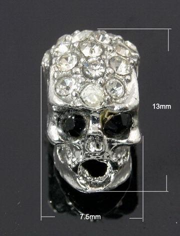 Мънисто метал с кристали череп 13x7.5x9 мм цвят сребро