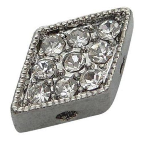 Мънисто метал с кристали 9x14x4 мм с 4 дупки 2 мм цвят сребро