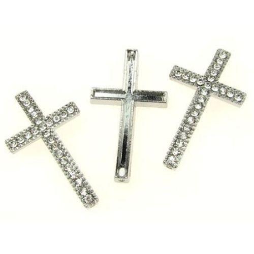 Мънисто метал с кристали кръст 31x19 мм цвят бял