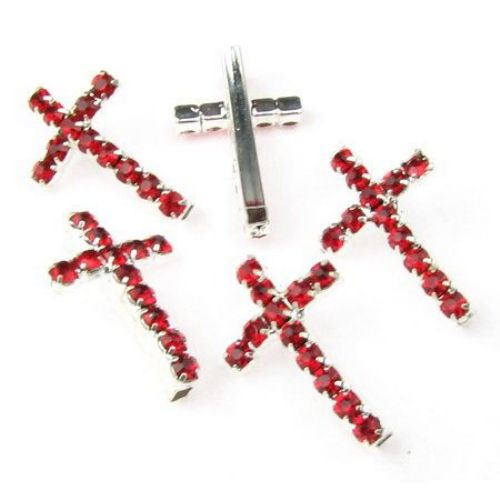 Мънисто метал с кристали кръст 20x13 мм цвят червен