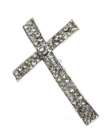 Мънисто метал с кристали кръст 35x22 дупка 2 мм цвят бял