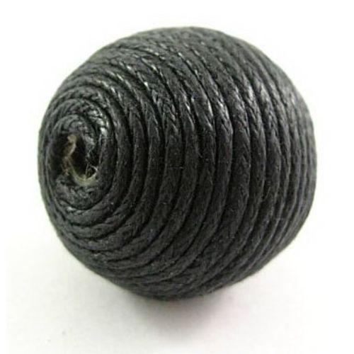 Bila de bumbac acoperita cu 16 mm gaură 2 mm negru -5 buc