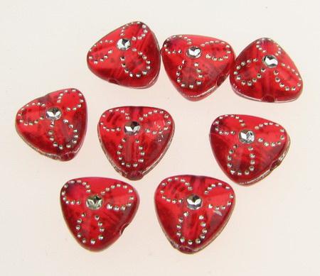 Мънисто имитация камъчета 10x9 мм дупка 1.5 мм прозрачно червено -20 грама ~108 броя