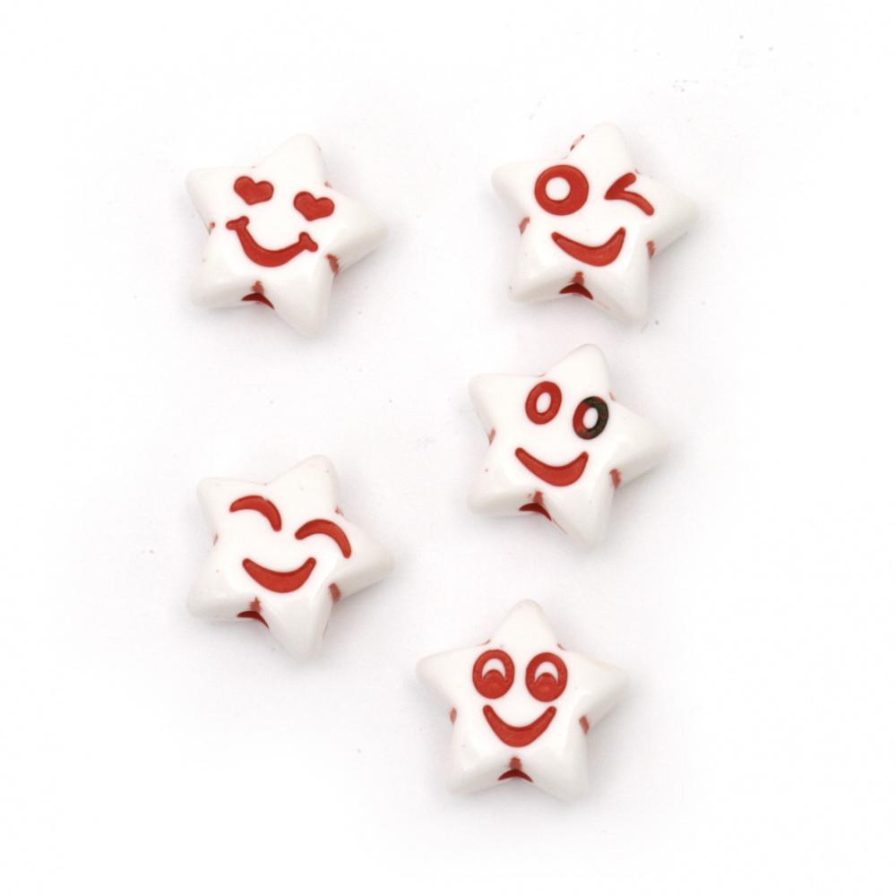 Мънисто двуцветно звезда усмивка 13x14x6.5 мм дупка 2 мм цвят бял и червен -50 грама ±80 броя