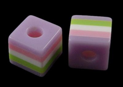 Куб 10x10x9.5 мм дупка 4 мм цветно 3-50 броя