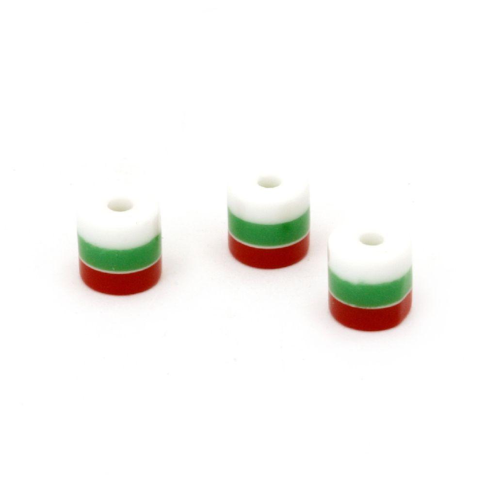 Цилиндър резин 6x6 мм райе бяло зелено червено -20 броя
