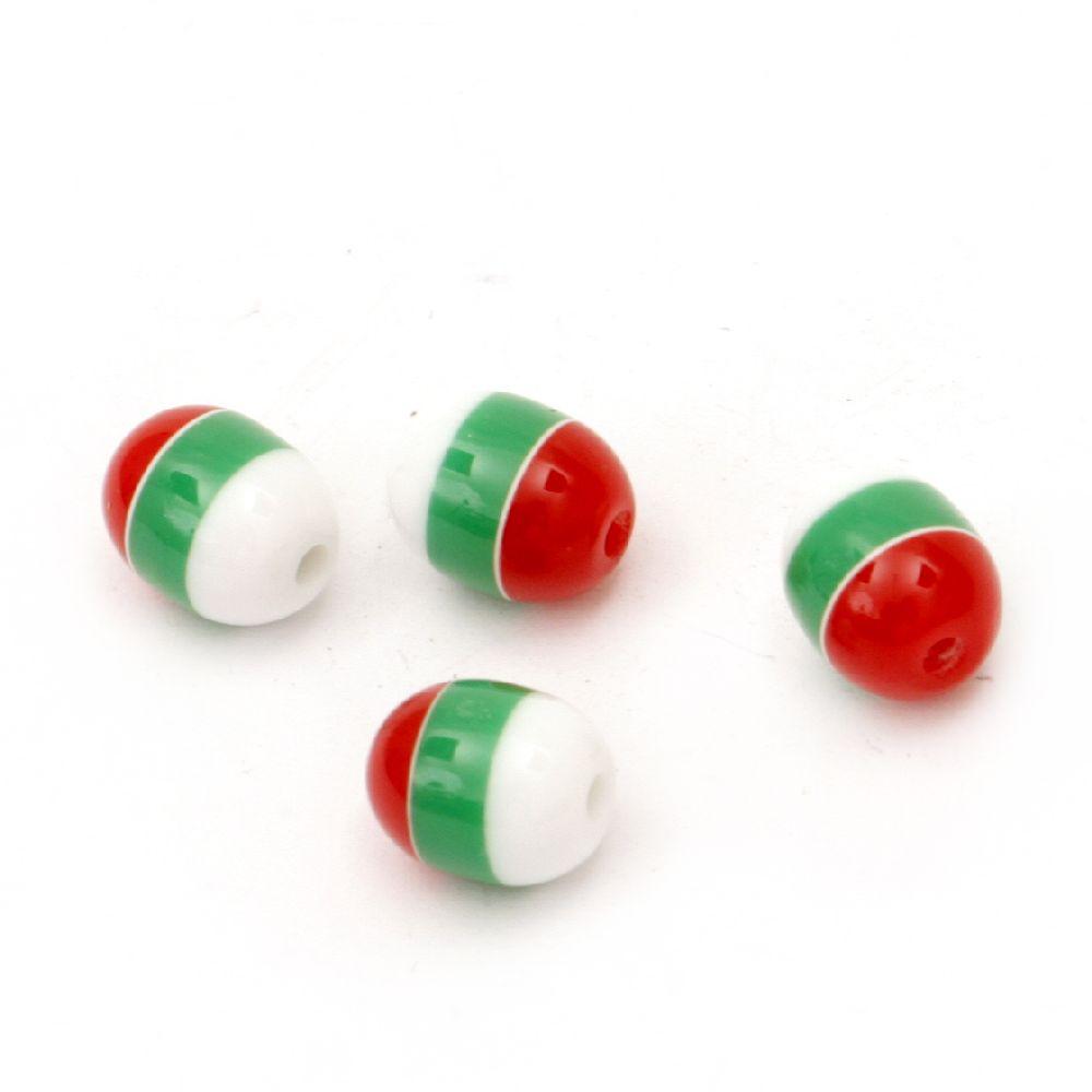 Мънисто резин овал 10x8 мм дупка 2 мм бяло зелено червено райе -50 броя