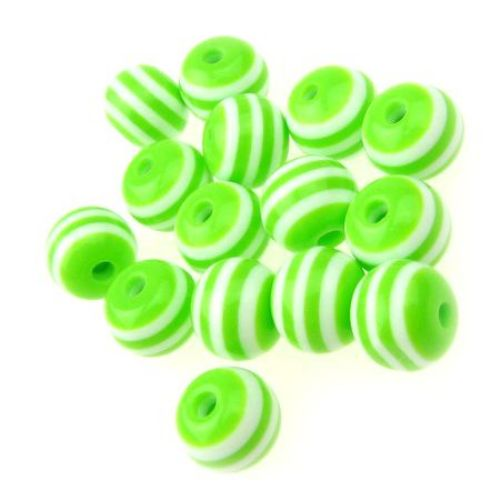 Топче 10x9 мм дупка 2 мм резин зелено с бяло райе -50 броя