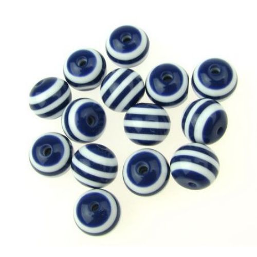 Топче 10x9 мм дупка 2 мм резин синьо с бяло райе-50 броя
