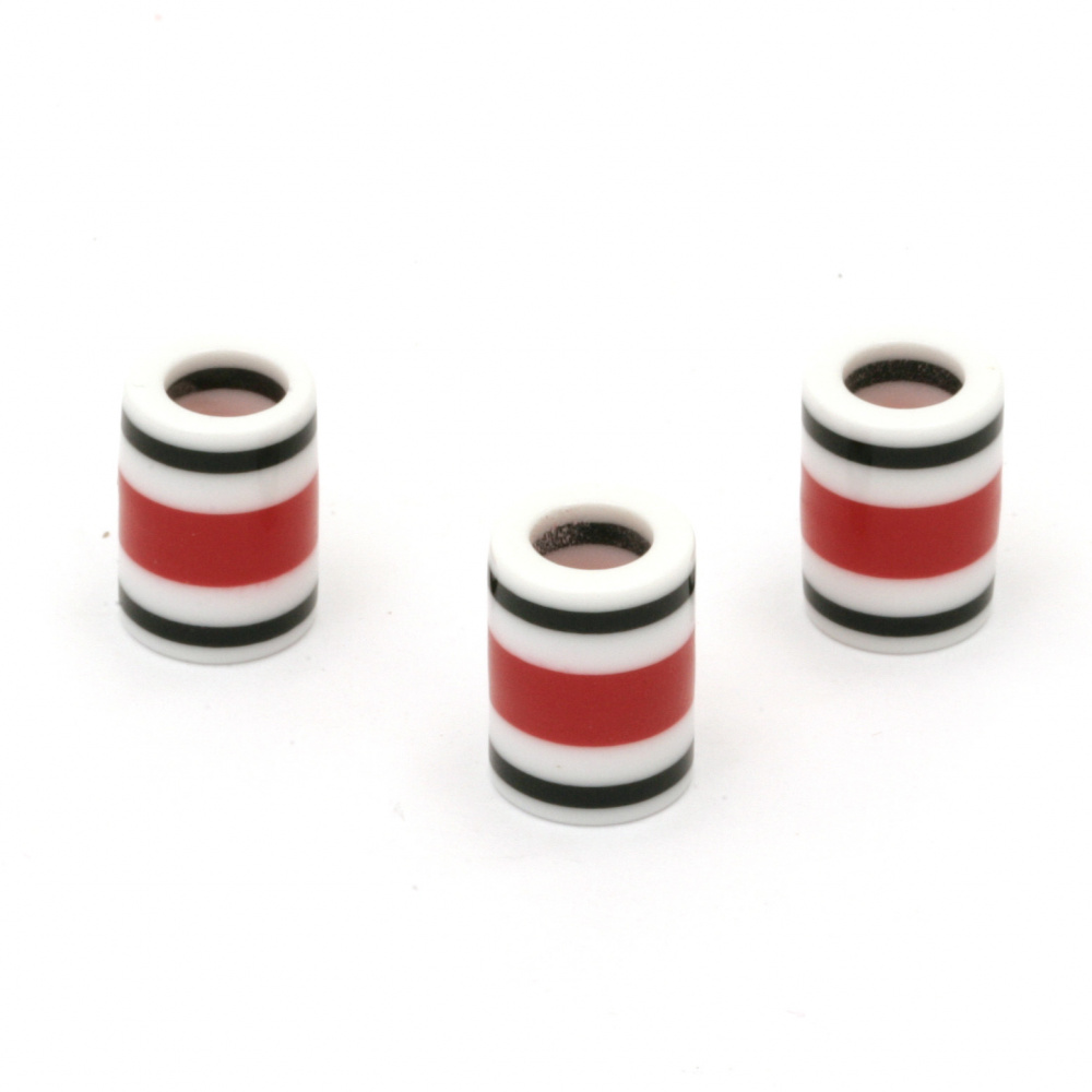 Цилиндър резин 14x10 мм дупка 6 мм бял червен черен -10 броя