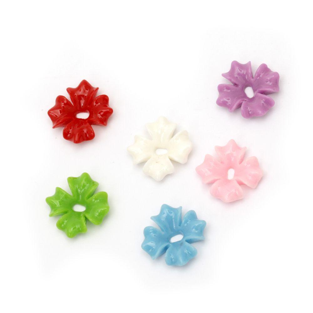 Мънисто резин цвете 20x4 мм дупка 3 мм микс -10 броя