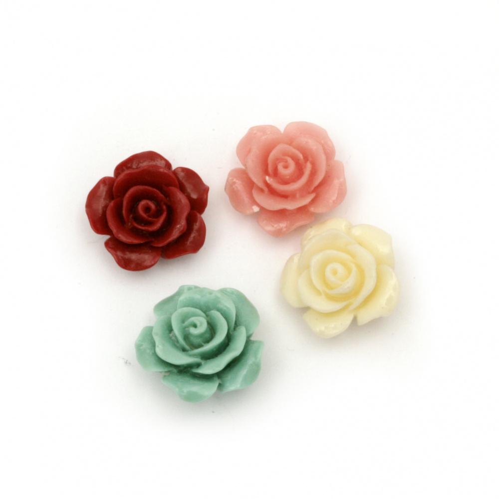 Мънисто резин роза 15x15x7.5 мм дупка 1 мм микс - 5 броя