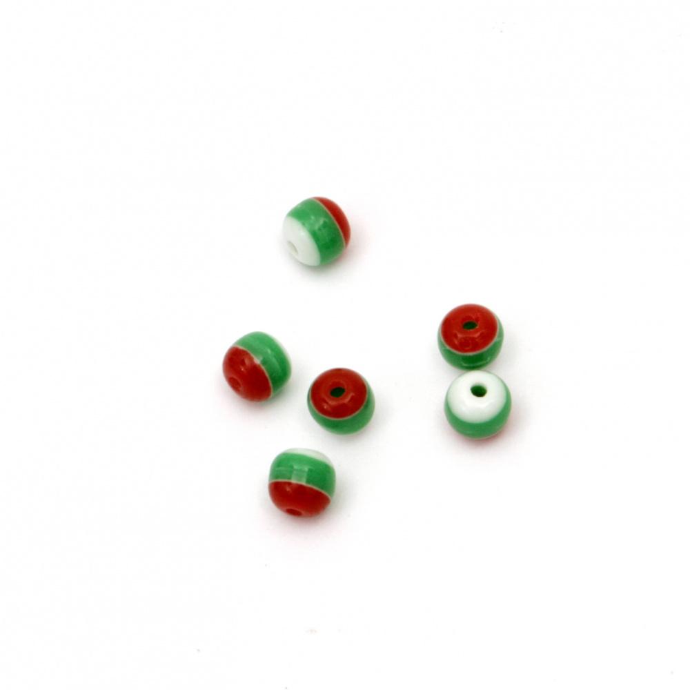 Топче резин райе 4.5 мм дупка 0.5 мм бяло зелено червено -50 броя