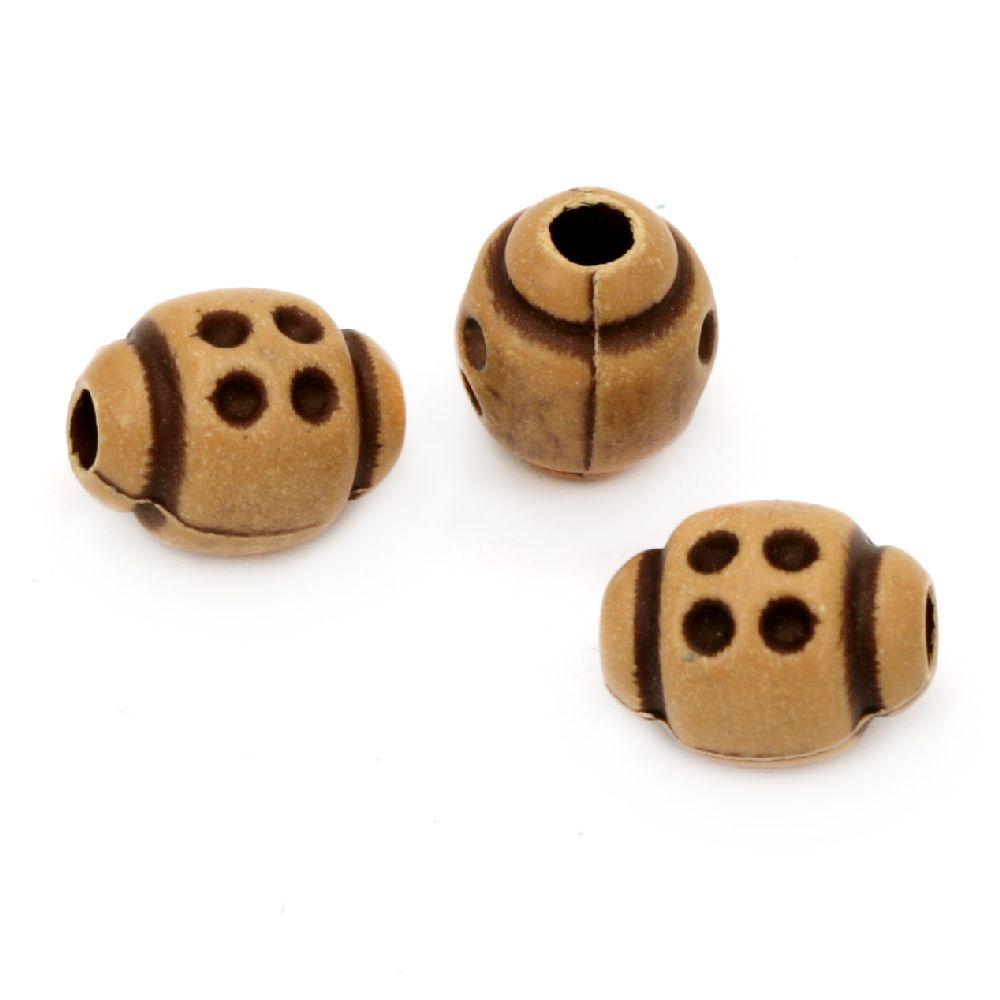 Χαντρα Antique οβάλ 12x10 mm τρύπα  3-4 mm καφέ-50 γραμμάρια ~ 75 τεμάχια
