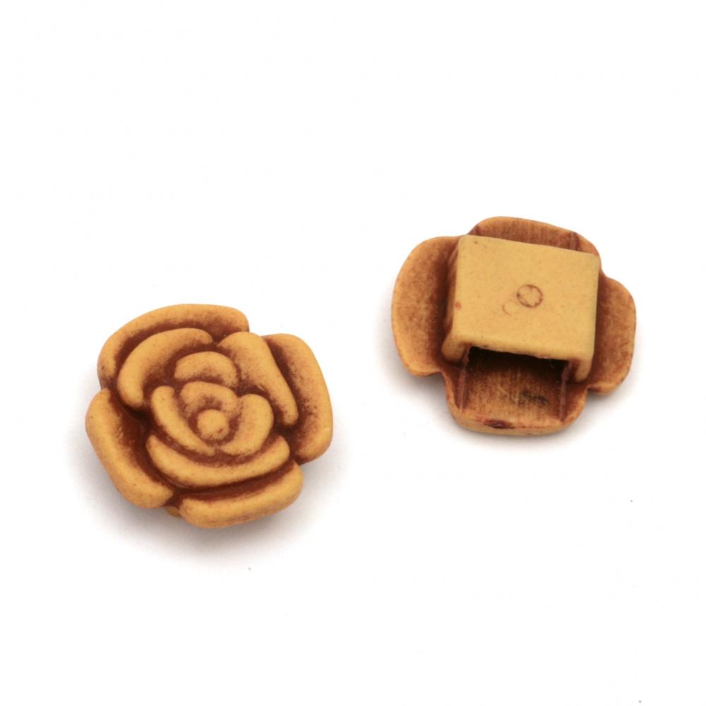 Мънисто Антик роза 19x19x7 мм дупка 8x3 мм цвят кафяв -50 грама ±45 броя