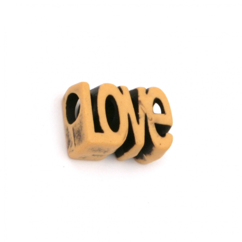 """Antique acrylic bead with  'Love"""" letters 16x11x7 mm hole 4.5 mm color brown - 50 grams ~ 66 pieces"""