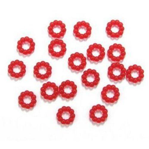 Χ'άντρα λουλούδι 14,5x4 mm ματ κόκκινο -50 γραμμάρια ~ 142 τεμάχια