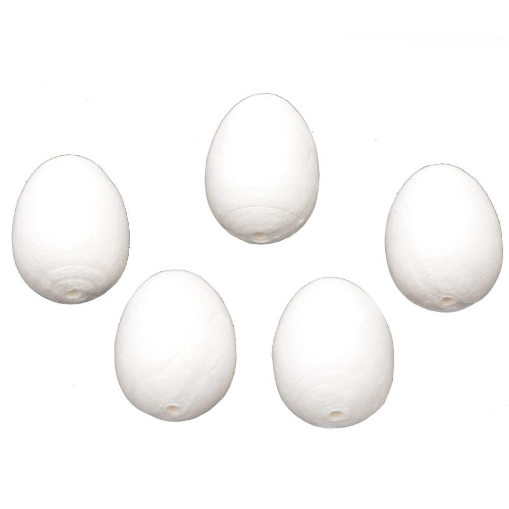 Ouă de bumbac 60x43 mm cu o gaură albă de 6 mm - 5 bucăți
