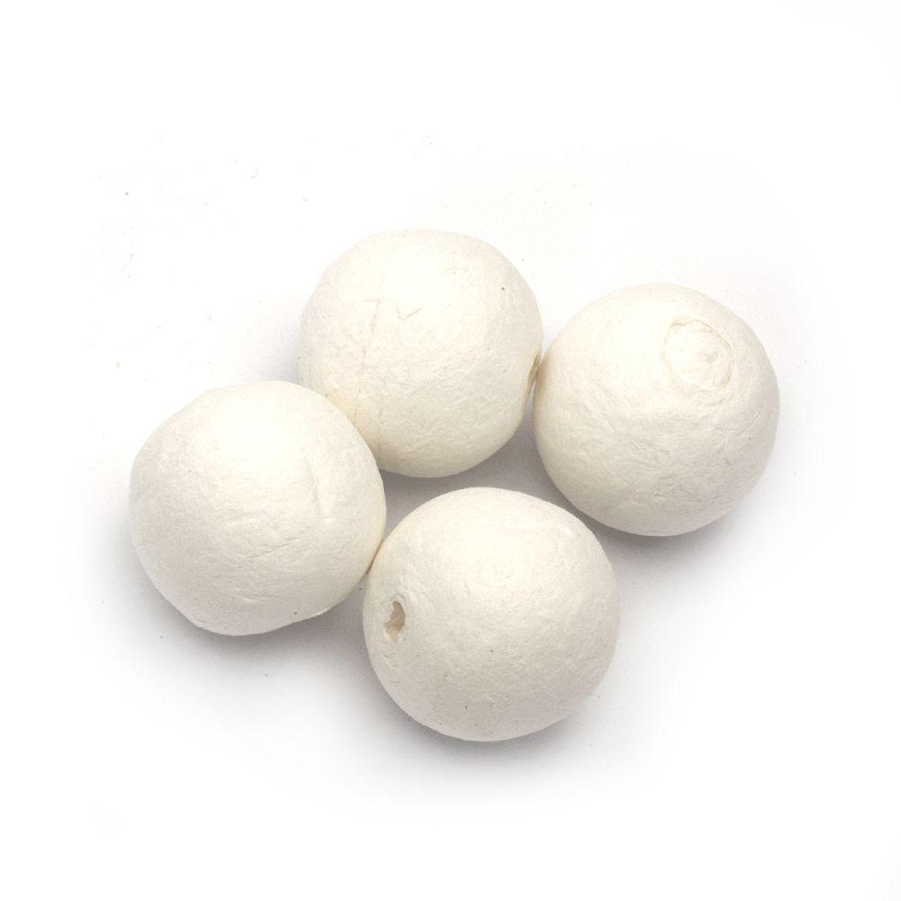 Bile  bumbac de 35 mm cu o gaură albă de 5 mm - 10 bucăți