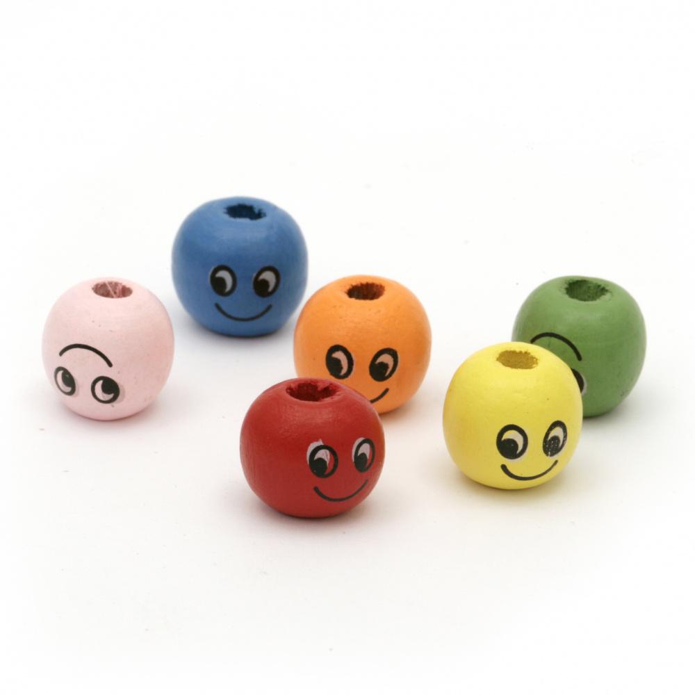 Κεφάλι με χαμόγελο 13x14mm Τρύπα 4mm Χρωματιστό -20 γραμμάρια ~ 25 τεμάχια