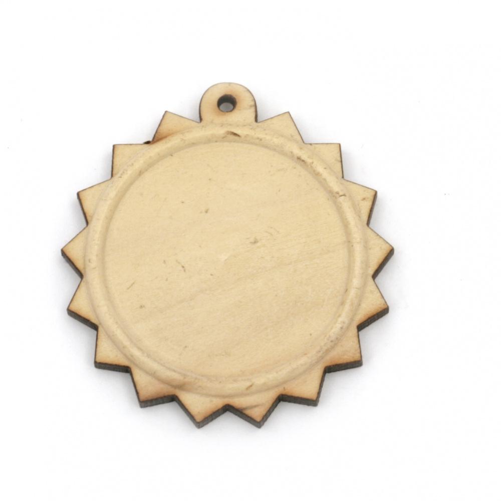 Дървена основа за медальон 43x41x4 мм плочка 30 мм дупка 1.5 мм цвят дърво -2 броя